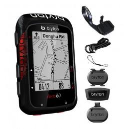 Ciclocomputer Bryton AERO 60T GPS computer set (HRM+SPD+CAD+Aero mount)